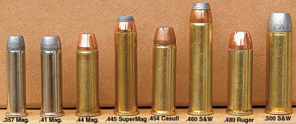 For an emergency sidearm, magnum cartridges with deep-penetration bullets are required.