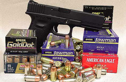 The .45 GAP gives performance equal to commercial .45 ACP personal-defense and law enforcement loads with 185- and 200-grain bullets but in a shorter overall case format