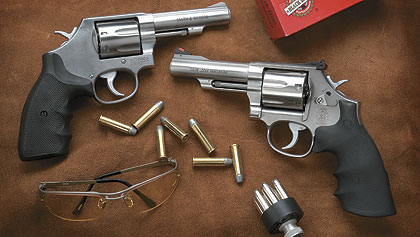 The author says that if you try out these double-action revolvers you just might find that seven is your lucky number.
