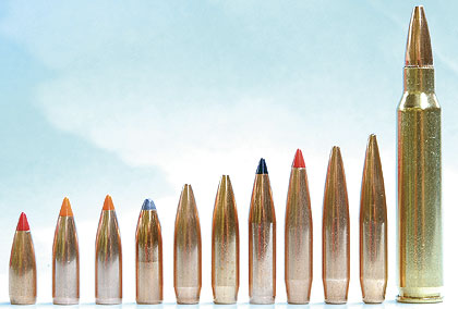 With such a wide variety of bullet weights available, selecting the right bullet for the intended purpose is critical in building good .223 Remington handloads. (From left to right) Hornady 40-gr. V-Max; Nosler 50-gr. Ballistic Tip; Nosler 55-gr. Ballistic Tip; Nosler 60-gr. Partition; Sierra 69-gr. MatchKing; Berger 73-gr. Match; Swift 75-gr. Scirocco; Hornady 80-gr. A-Max; Sierra 80-gr. MatchKing; Berger 90-gr. VLD.