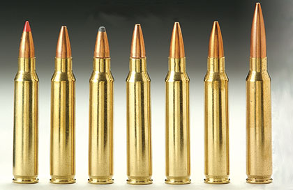 (left to right) .223 50-Gr. V-Max, .223 52-Gr. Match HP, .223 60-Gr. SP, .223 68-Gr. Match HP, .223 75-Gr. Match HP, .223 77-Gr. HP, .223 80-Gr. Match HP