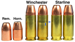 "147-grain bullets are shown: a Remington FMJ FP with a square base and a Hornady XTP with a boat tail. The Rem. slightly bulged the Win. cases, as shown by arrows and a change in the shadow. The boat-tail bullet produced no bulge.  Bullets were seated to 1.245"" COL."
