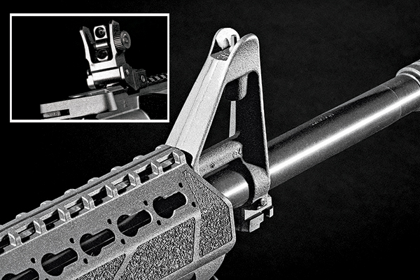 "The SAINT features Springfield's own flip-up rear sight and a GI-style ""F"" height front sight. The flip-up rear sight has two sizes of apertures that can be changed in an instant."