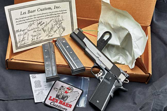 The Premier II 10mm comes with two, nine-round magazines; a bushing wrench; a trigger lock; a Les Baer Custom patch; extra red and yellow fiber-optic front sight rods; and a certificate of authenticity.