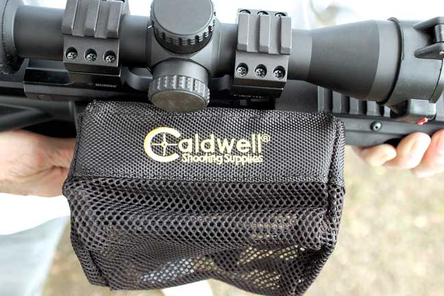 For shooting flat-top ARs, Steve likes the Rail Brass Catcher from Caldwell Shooting Supplies. Its aluminum base clamps to the rail, the bag slips onto the base, and it empties out the zippered bottom. It holds up to 100 .223 cases.