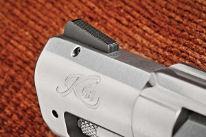 The front sight is pinned to the 2.0-inch stainless-steel barrel.