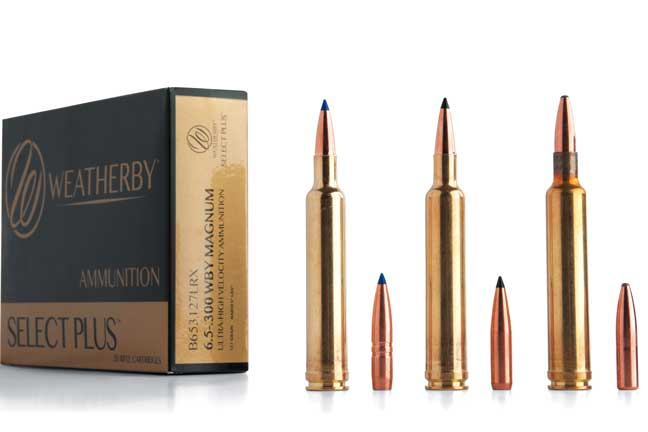 Three 6.5mm Wby. Mag. factory loads are currently available. They're loaded with (left to right) the Barnes 127-grain LRX (rated at 3,531 fps), the Swift 130-grain Scirocco II (rated at 3,476 fps); and a Swift 140-grain A-Frame (rated at 3,395 fps).