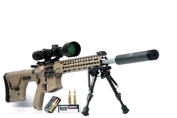 Nosler's superbly accurate Varmageddon rifle—built by Noveske—is available in the .22 Nosler and produced 0.37-inch three-shot groups at 100 yards with factory ammo loaded with the Nosler 77-grain BTHP.