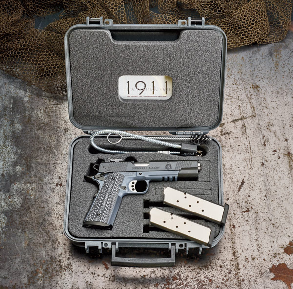 The pistol comes in a hard polymer carry case with two magazines, two Allen wrenches, a cleaning rod with built-in bore brush, and a trigger padlock.