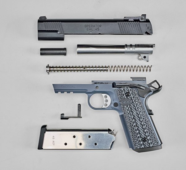 Features include a bushingless, 5.0-inch, stainless steel, match-grade heavy barrel; a black Armory Kote-finished steel slide; and a full-length one-piece guide rod.