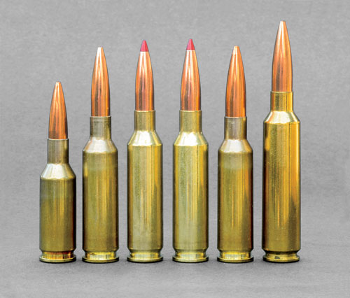 The search for the perfect small-caliber, long-distance, accuracy cartridge resulted in the development of light recoiling, far-reachers, including (left to right) 6mm Norma BR, 6x47 Lapua, 6mm Creedmoor, 6.5 Creedmoor, 6.5x47 Lapua, and 6.5-284 Norma