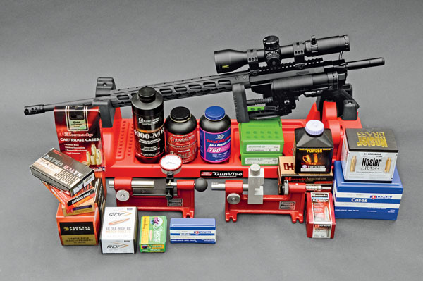 Prior to shooting, Layne cleaned the rifles, using an MTM Rifle Vise and a cleaning rod guide from Sinclair International. He used Redding dies; Hornady tools; Federal primers; and Hodgdon, Winchester, VihtaVuori, and Alliant powders to prepare handloads.