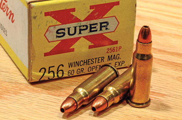The .256 Win. Mag. is the .357 Magnum necked down. With a 60-grain bullet at a velocity around 2,750 fps, the .256 Win. Mag. was ideal for squirrels and possums out to 125 yards.