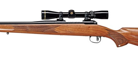 The rifle also features a 16.25-inch custom barrel made by E.R. Shaw and a checkered walnut stock with recoil pad and sling-swivel studs.