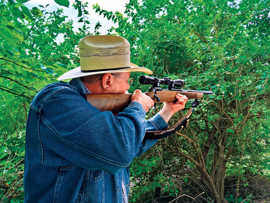 Joel says his stubby Shaw Mk. VII .338 Federal rifle is a joy to shoot. He likes its weight and balance, and he is very pleased with its accuracy.