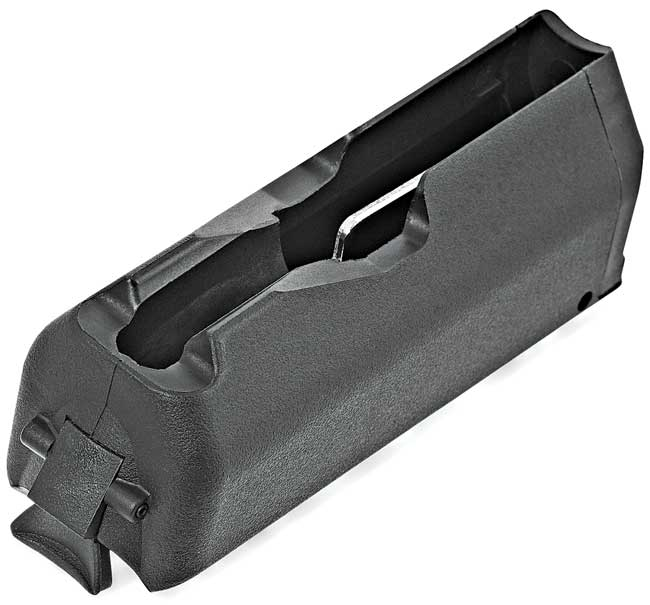 The rifle's rotary magazine holds four cartridges and snaps in and out of the stock with ease.