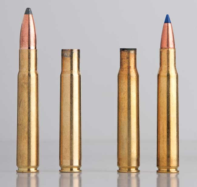 Forming .35 Whelen cartridge cases is as simple as necking up .30-06 brass to accept 0.358-inch-diameter bullets.