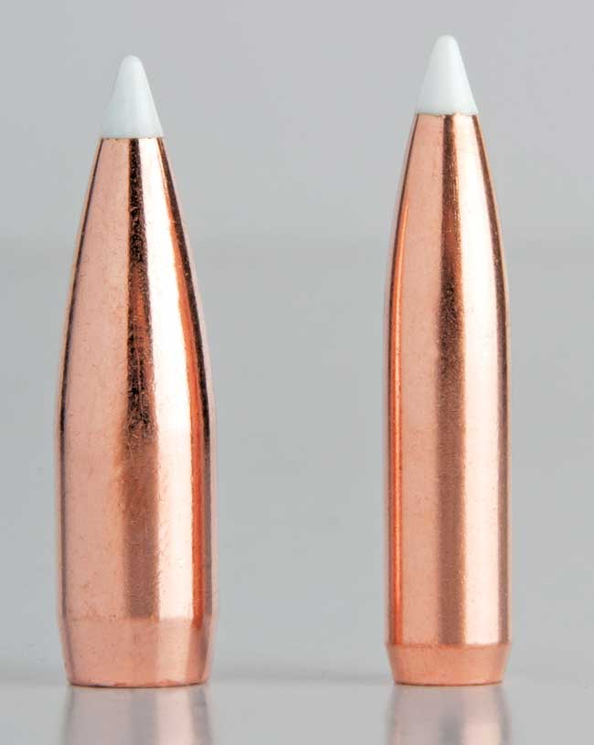 One of the .35 Whelen's only failings is that 0.358-inch-diameter bullets in typical weights have relatively low BCs. The Nosler 225-grain AccuBond (left) is about as aerodynamic as they get, and it still rates only .430, as compared to the 160-grain 7mm bullet (BC: .531) shown for comparison.