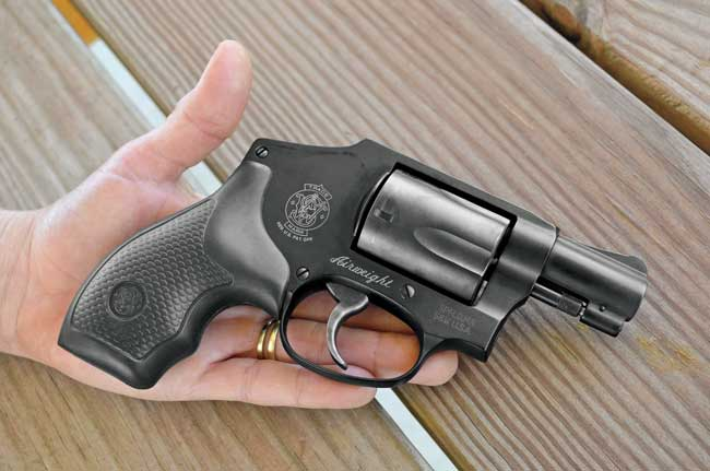 The .38 Special S&W Model 442 Airweight fit Chris's petite hands extremely well, and the rubber grip provided a firm hold and excellent cushioning.