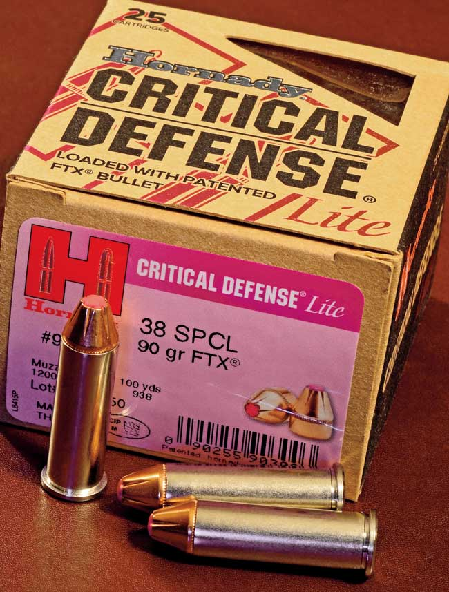 Hornady Critical Defense Lite .38 Special ammunition, loaded with 90-grain FTX bullets, is the best load Terry has found for use in a short-barreled revolver. He recommended it for Chris's self-protection loading.