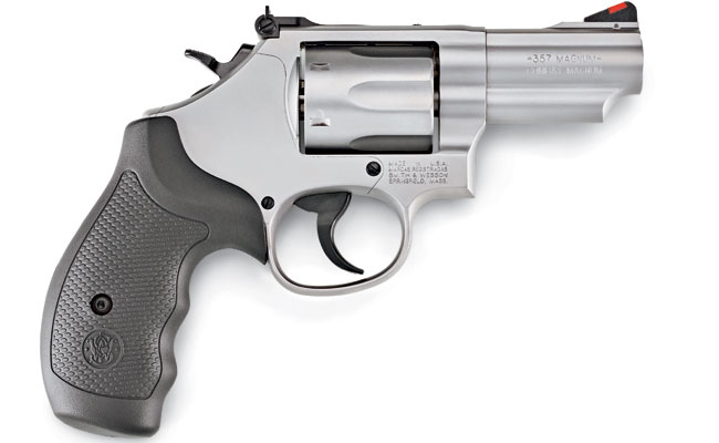The newest variation of Smith & Wesson's classic .357 Magnum Model 66 has a 2.75-inch-long, two-piece barrel; black synthetic wraparound grips; an adjustable rear sight; a pinned-in red ramp front sight; a restyled cylinder release button; and an internal key locking system with the key slot located just above the cylinder release button.