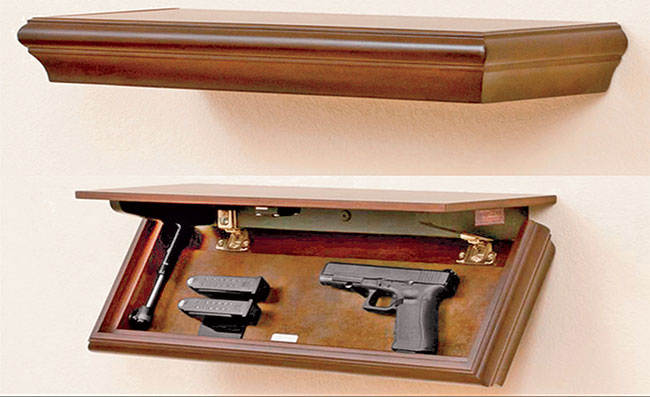 New Jersey Concealment Furniture, Tactical Walls, and Fort Knox offer wall-attached shelves of various lengths with most of them long enough and thick enough to conceal a rifle or shotgun along with a handgun.