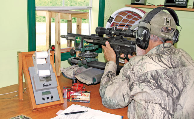 Firing from a Caldwell Lead Sled DFT, Steve achieved sub-MOA accuracy with the DDM4V7 LW with 11 out of the 17 loads—factory ammo and handloads. The best was an average of 0.57 inch, and it came with Fort Scott Munitions 5.56mm 62-grain SCS factory ammo.