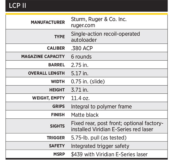 Ruger-LCPII-.380-Specs