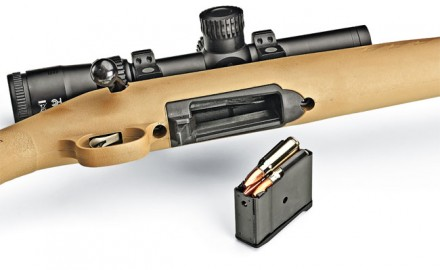 The bolt-action Ranch Model uses Ruger's semiautomatic Mini Thirty detachable magazine. The carbine comes with a five-rounder, but 10- and 20-round magazines are available from Ruger.