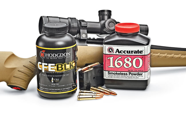 Accurate 1680 powder was developed specifically for the 7.62x39mm cartridge and is popular with handloaders. CFE BLK powder is one of Layne's favorites for the Russian round.
