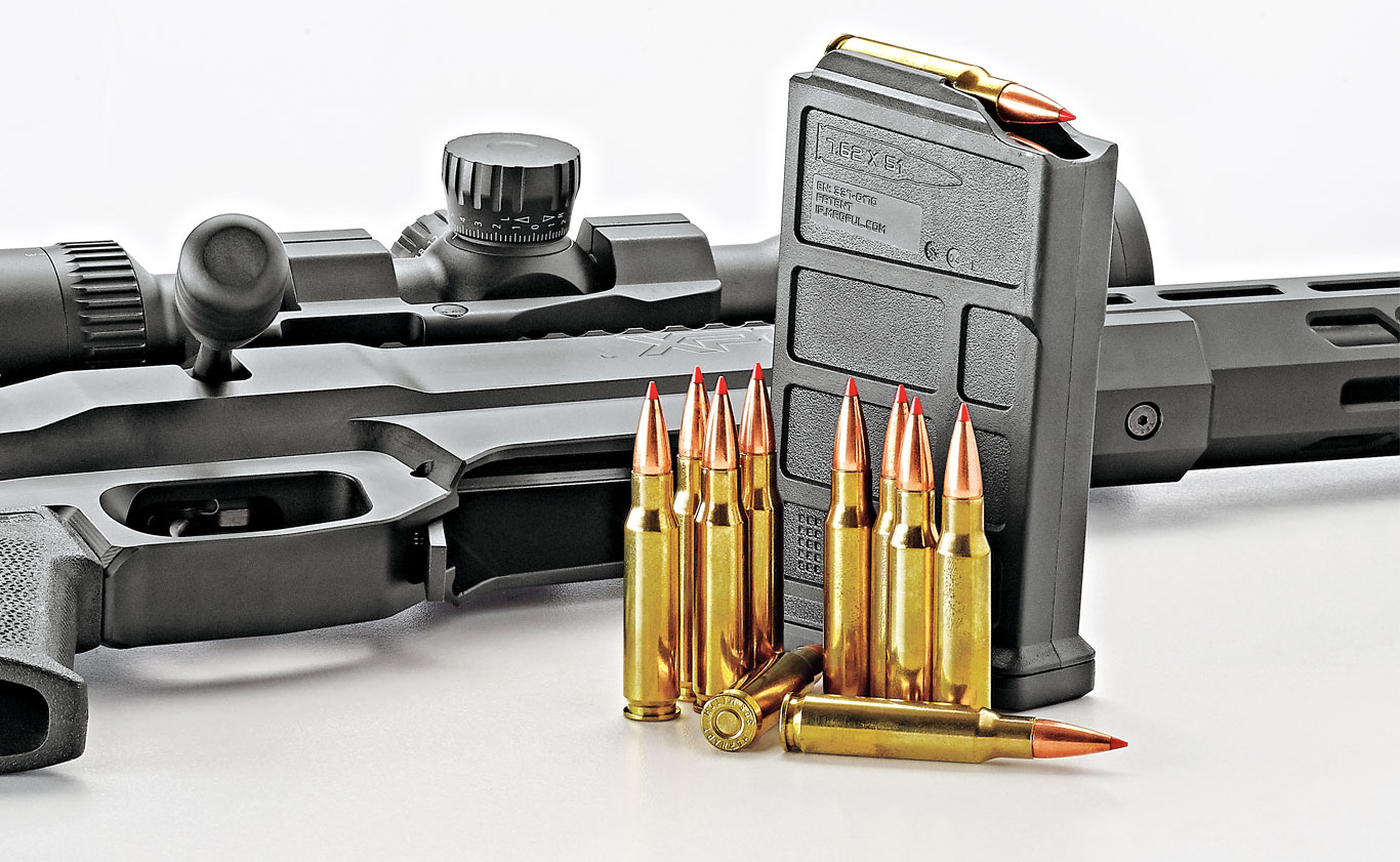 The 10-round magazine (shown) is made by Magpul. A five-round MDT magazine for hunting is also offered.