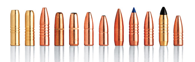 A huge variety of suitable projectiles adds versatility to all .416 cartridges. From left: Cutting Edge 400-grain Safari Solid, Barnes 400-grain Banded Solid, Barnes 400-grain TSX, Hornady 400-grain DGS, Hornady 400-grain DGX, Swift 400-grain A-Frame, Swift 350-grain A-Frame, Cutting Edge 350-grain MTH, Barnes 350-grain TTSX, Barnes 350-grain TSX, Cutting Edge 300-grain ESP Raptor, and Barnes 300-grain TSX.