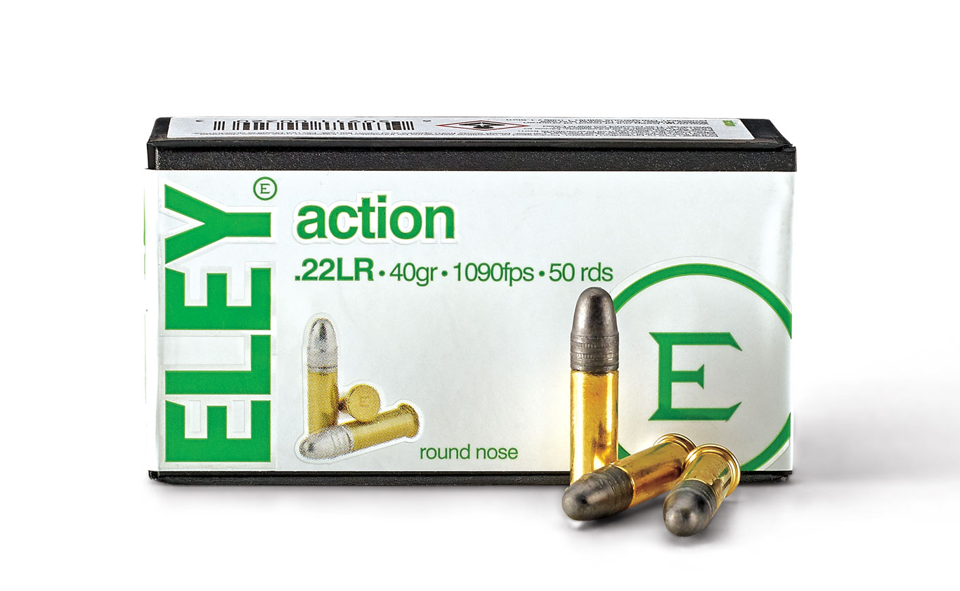Eley Action is an all-purpose round designed for a variety of shooting disciplines. Loaded with a 40-grain lead RN bullet, it's great for plinking, target shooting, and small-game hunting/pest control.