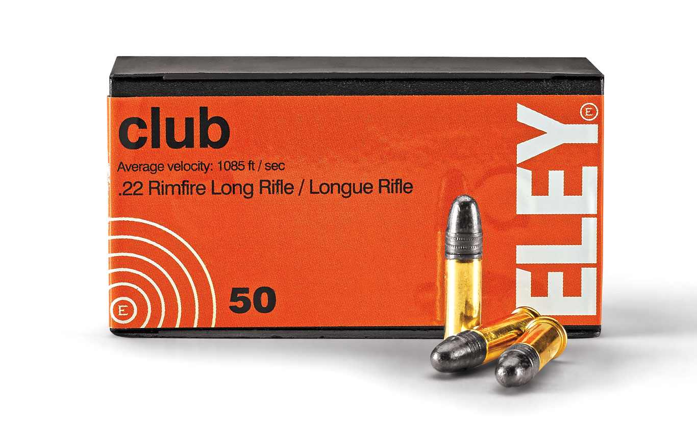 Also loaded with a 40-grain RN bullet, Eley Club is used primarily for 50-meter Prone, 50-meter Three Position, 50-meter Free Pistol, 25-meter Pistol Women, 25-meter Rapid Fire Pistol, Lightweight Sport Rifle, and Silhouette competition shooting.