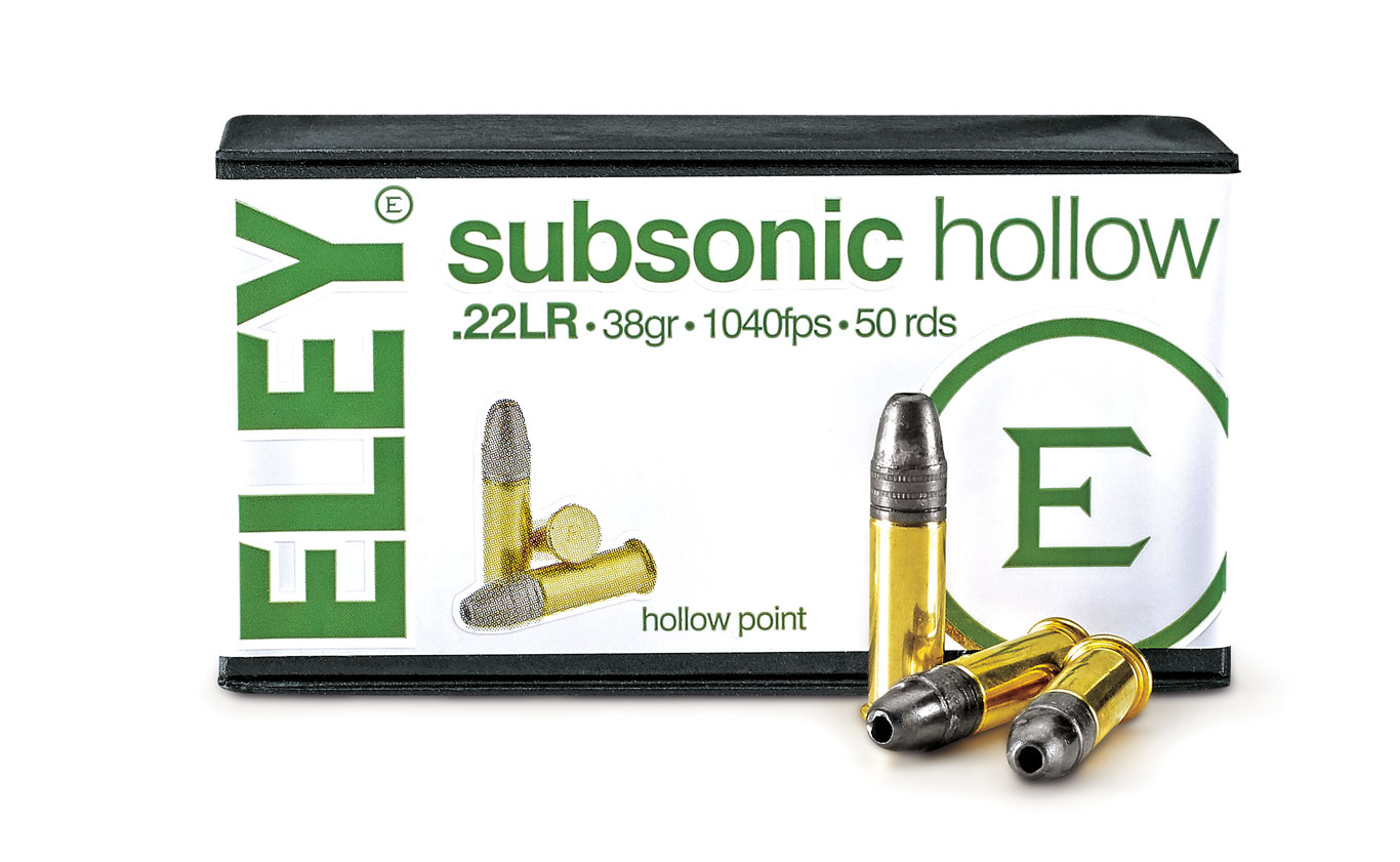 The new Subsonic Hollow is a hunting cartridge with target shooting accuracy and reduced velocity. Its 38-grain hollowpoint bullet delivers outstanding expansion and short penetration to provide optimal stopping power on small game and vermin.