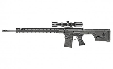 Savage's MSR-10 Long Range has a 22-inch fluted barrel with 1:8 twist, a non-reciprocating charging handle on the left side, a two-stage Blackhawk target trigger, a 10-round Magpul magazine, and a Magpul PRS Gen 3 buttstock.
