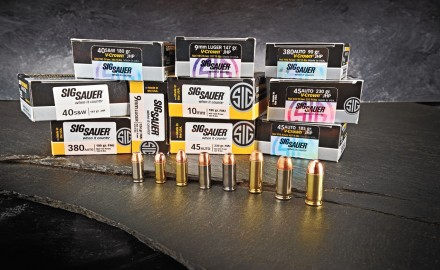 SIG SAUER's pistol ammunition is offered in chamberings ranging from .380 ACP to .45 ACP and is loaded with either the company's proprietary V-Crown JHP or brass-jacketed FMJ bullets.