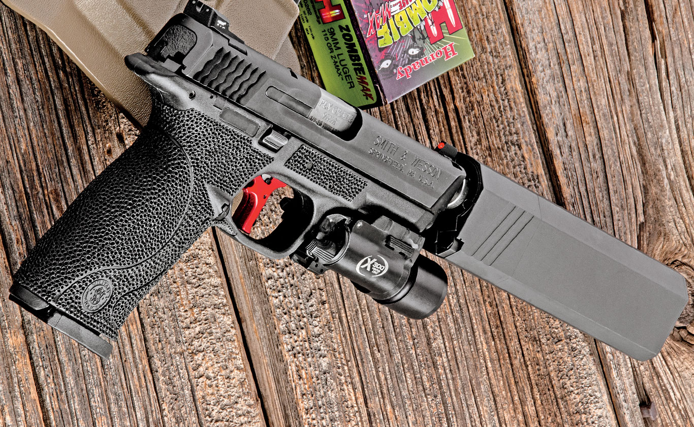 Modified with an Apex trigger kit and gunsmith-fit threaded barrel, Trijicon HD XR ledge-type night sights, and stippling on the frame, the author's once-pedestrian M&P9 is now a superbly accurate, easy-to-shoot, high-capacity polymer-framed defense pistol.