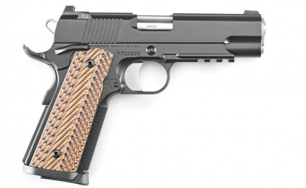 The Dan Wesson Specialist Commander comes with a 4.25-inch, match-grade barrel; a stainless-steel bushing; a long, solid aluminum trigger; a combat-type rear sight with a single tritium dot; a post front sight with one tritium dot; and G10 grip panels.