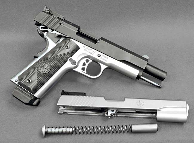 Ruger's SR1911 Target in .45 ACP mated with a pair of Marvel Custom .22 Rimfire Conversion Unit