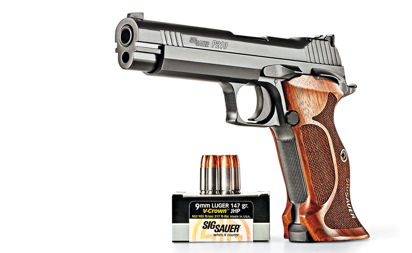 """The graceful SIG P210 pistol has been called """"a tactically perfect pistol."""" The new P210 target is more elegant and has a greater accuracy potential."""