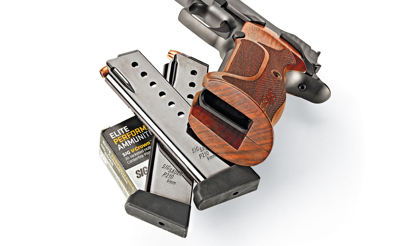 The P210 Target comes with two eight-round magazines that have seven witness holes and removable floorplates.