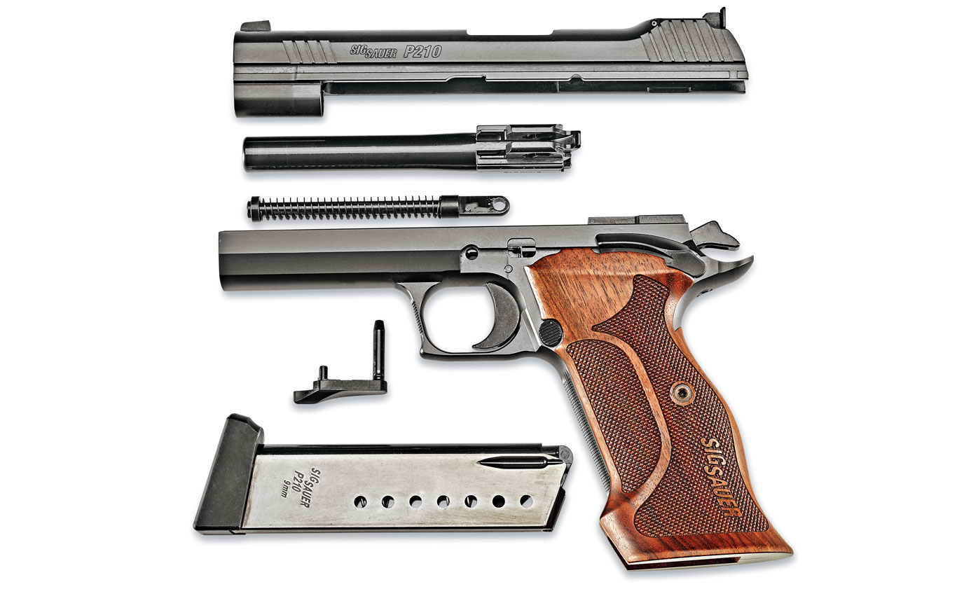 Unlike a traditional Model 1911, the P210 Target does not use a barrel bushing and its recoil spring assembly is a captive unit, but it disassembles much like a Model 1911 for regular cleaning and periodic maintenance. The P210 Target's controls are located in the same places as on a Model 1911; however, the P210 does not have a grip safety.