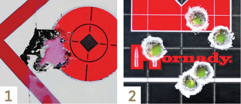1. It's getting harder and harder to beat factory loads, as this group shows. Federal's 7mm-08 load with the 140-grain Trophy Bonded Tip bullet made this terrific five-shot group and an averge velocity of 2,805 fps. 2. Steve's handload comprising the Nosler 150-grain AccuBond bullet with 46.0 grains of H414 gave a velocity of 2,769 fps and produced excellent accuracy.