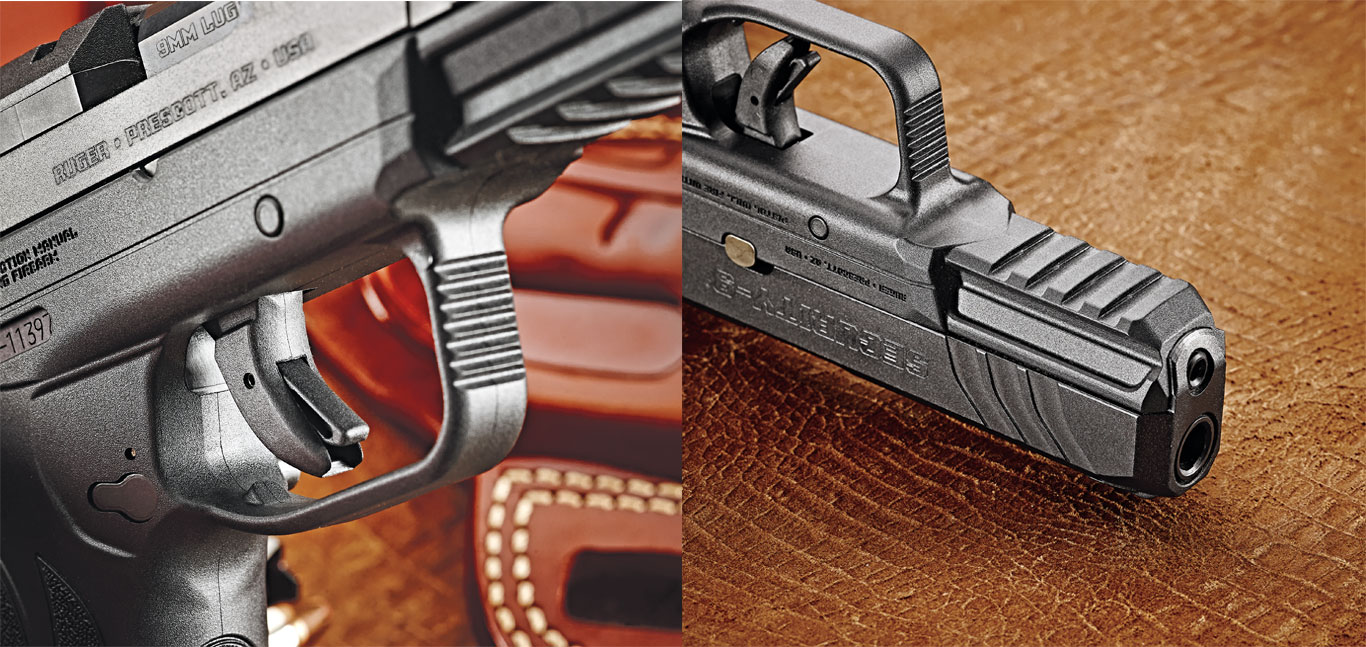 The new hammer-fired Security-9 uses Ruger's new Secure Action and bladed single-action trigger system. The polymer frame has an integral accessories rail with four cross-slots.