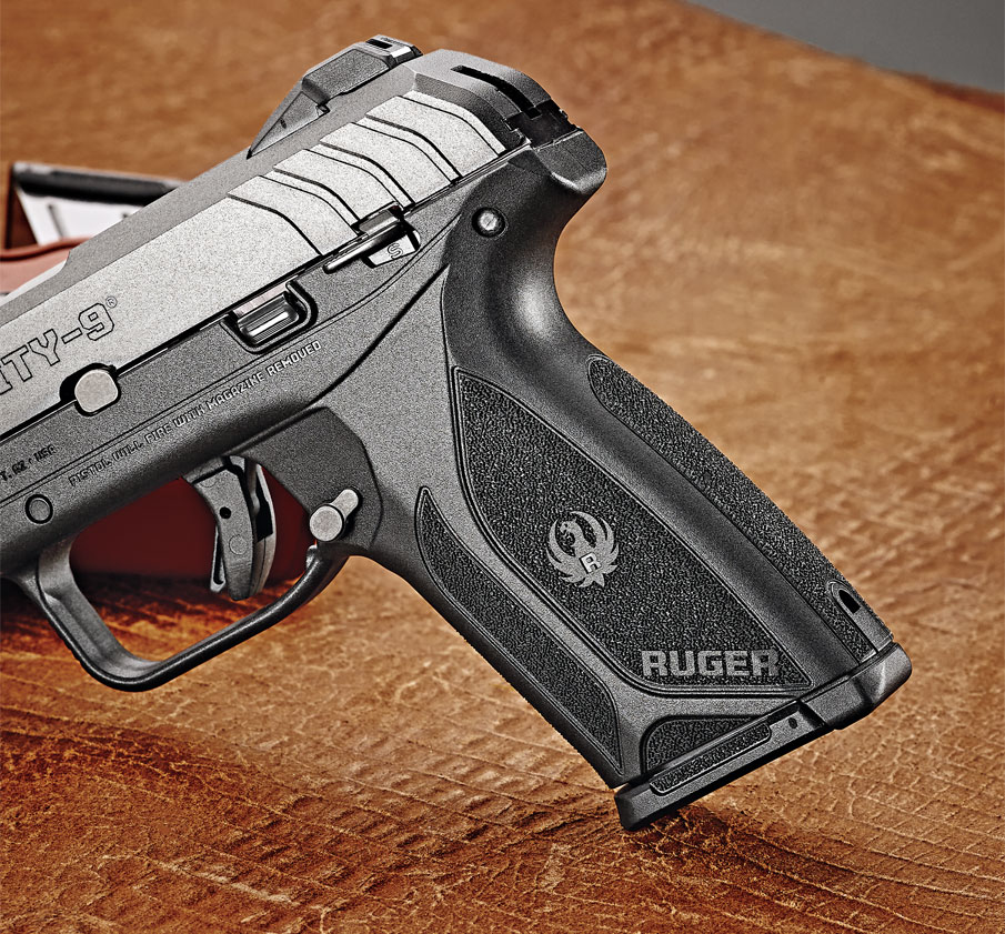 The grips are integral to the frame, and the pistol does not have interchangeable backstraps; however, its shape fits a variety of hand sizes.