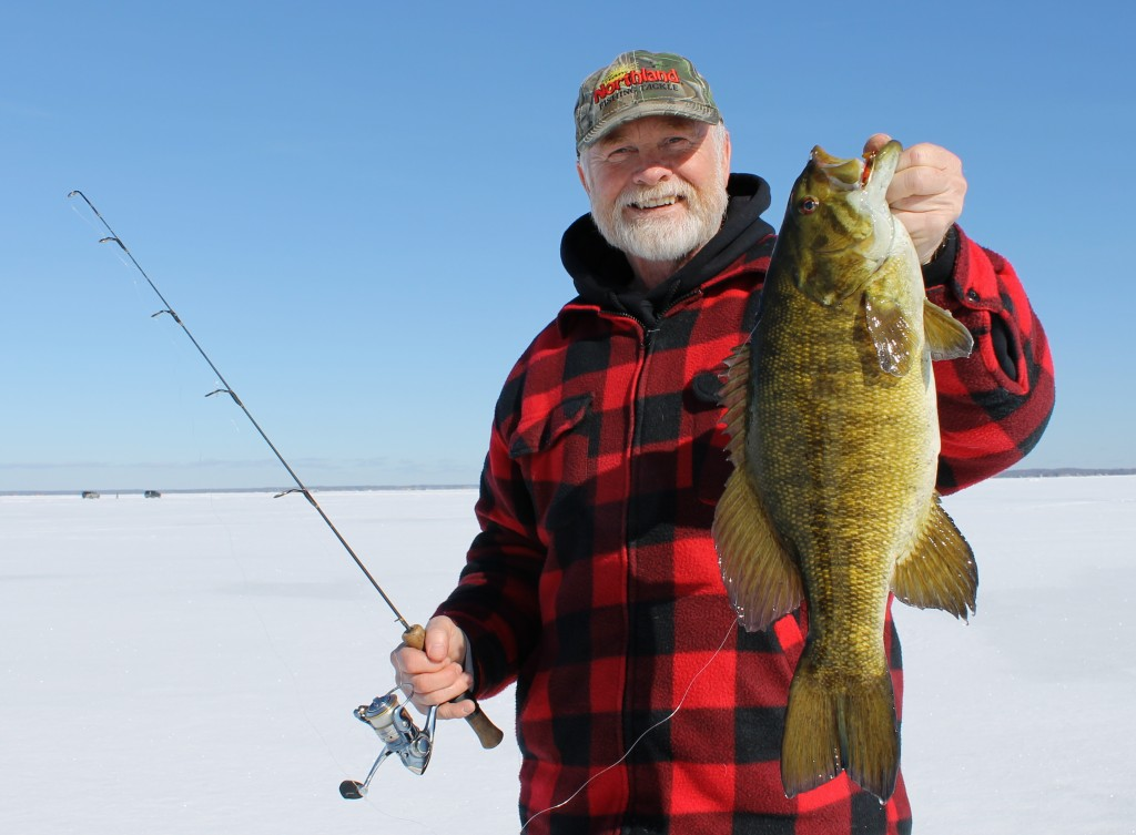 Smallmouth surprise in fisherman for Lybacks ice fishing