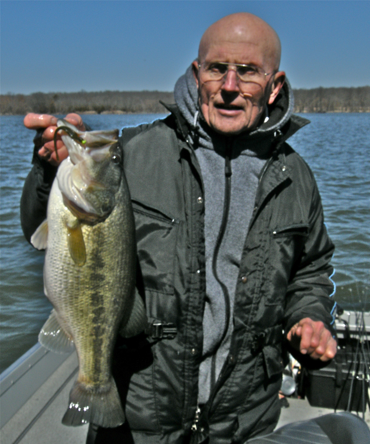 Even though our primary focus is upon catching 101 bass in four hours, we do at times tangle with a lunker or two. This six-pounder was caught on March 9, 2011, and it was allured by a 1/32-ounce chartreuse Gopher Tackle Mushroom Jig Head affixed to a Z-Man green-pumpkin Finesse ShadZ.