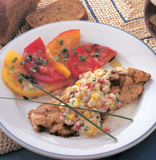 Grilled Catfish With Sweet Corn Sauce    by Chef Lucia Watson  This recipe, which I do on the grill