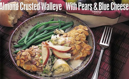 Almond-Crusted Walleye with Pears & Blue Cheese Recipe